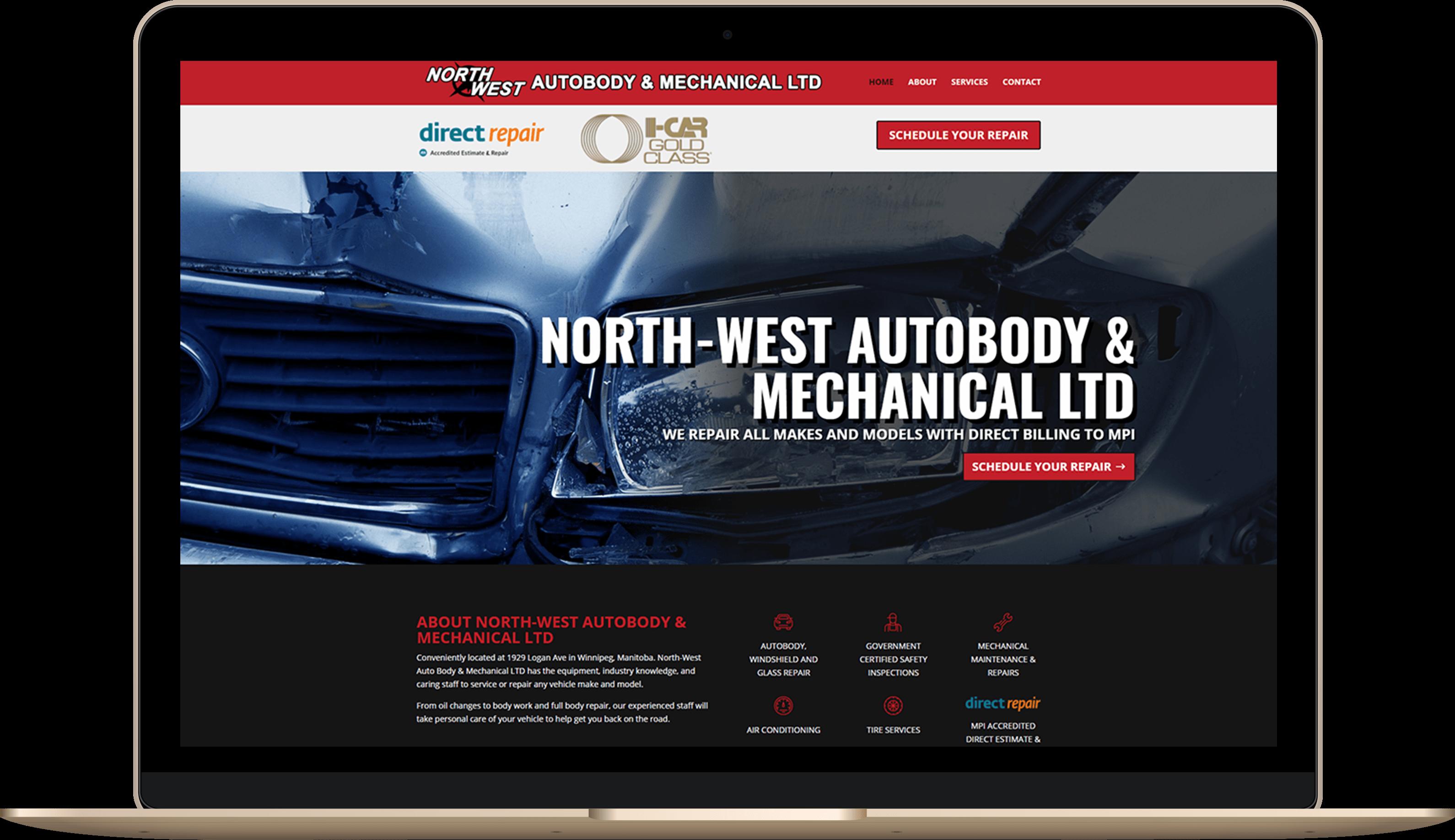 Website for an auto repair shop in Winnipeg
