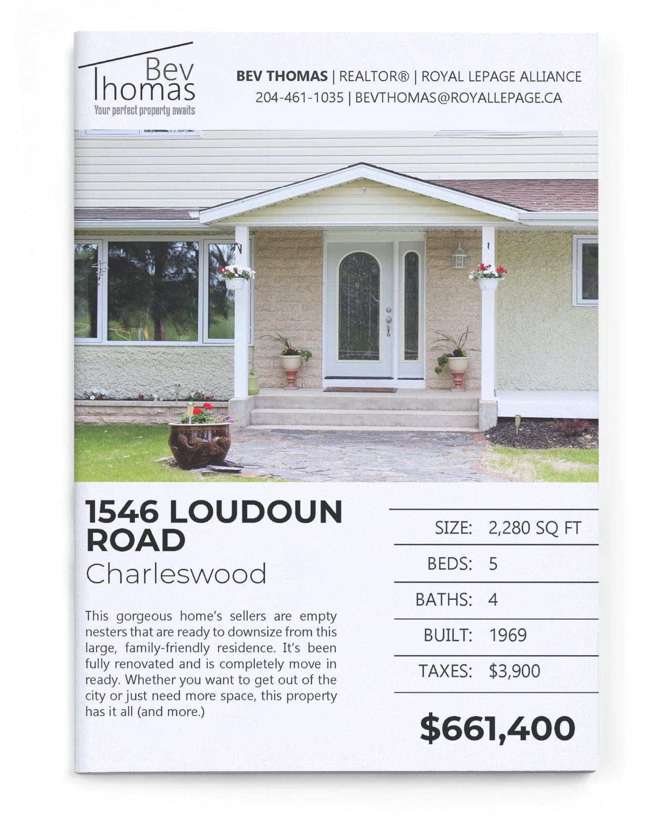 bev thomas real estate flyer